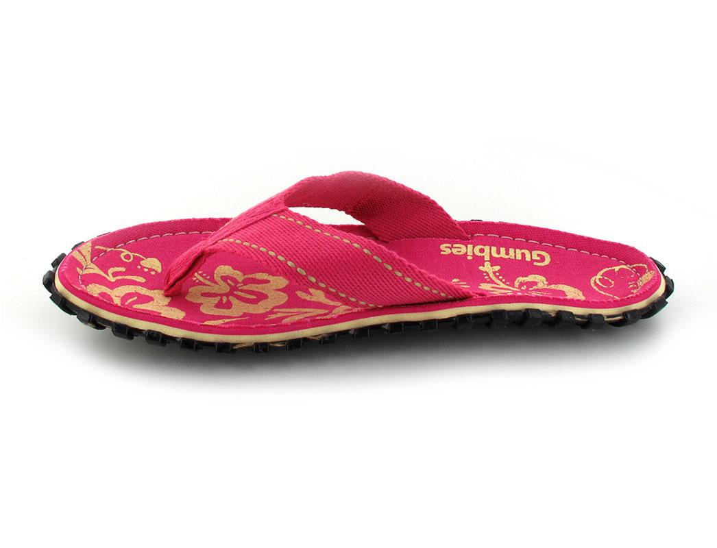 gumbies flip flops damen pink hibiscus von gr 36 42. Black Bedroom Furniture Sets. Home Design Ideas